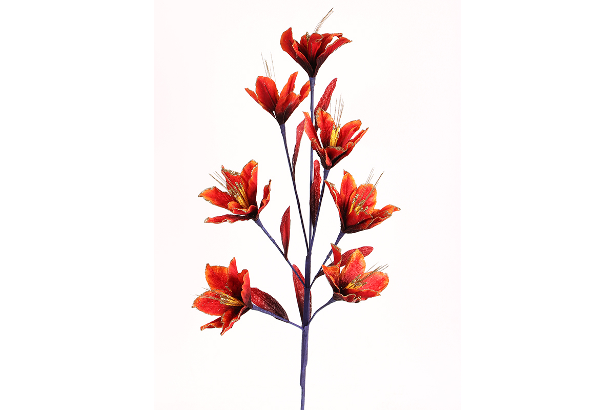 Λουλούδι διακοσμητικό με 7 άνθη και γκλίτερ χρ. μπορντώ – KESKOR – KESKOR –  ΧΟΝΔΡΙΚΗ ΠΩΛΗΣΗ